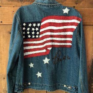 Jean jacket/Stars & Stripes in beads on back